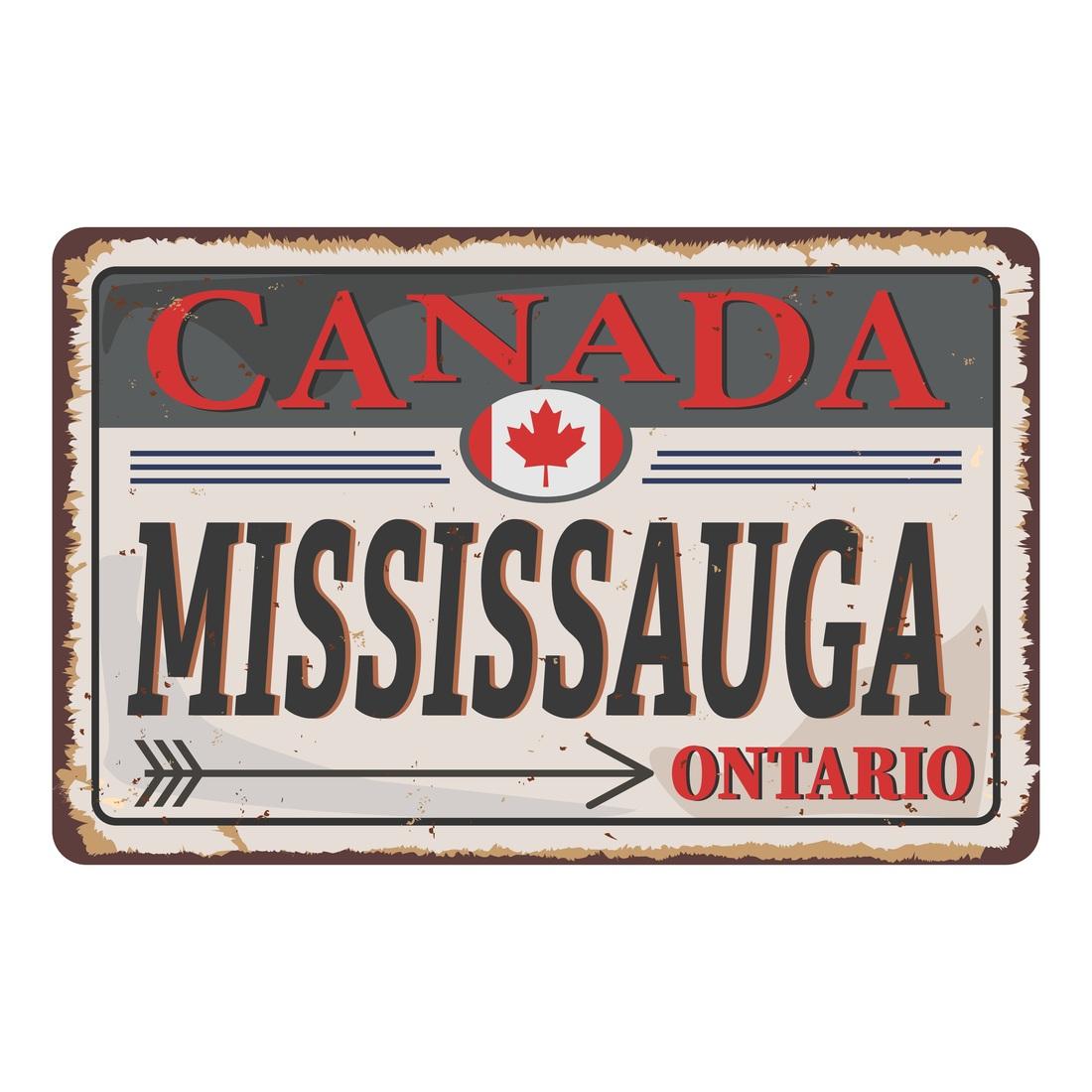 Mississauga Ontario Canada rusty old enamel sign on white background
